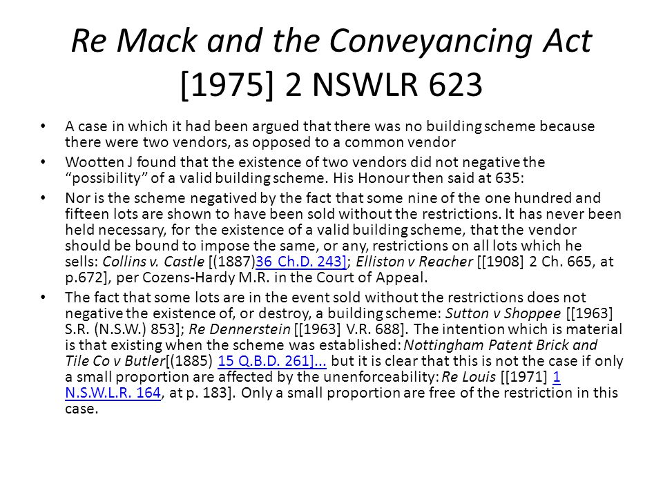Re Mack and the Conveyancing Act [1975] 2 NSWLR 623